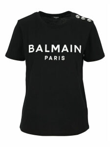 Balmain Logo Print Button Embellished T-shirt