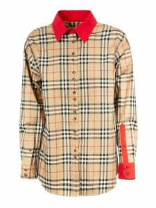 Burberry Red Cuff & Collar House-checked Shirt