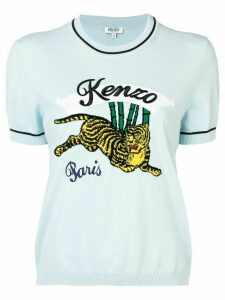 Kenzo embroidered tiger logo T-shirt - Blue