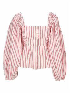Ganni Square-neck Striped Shirt