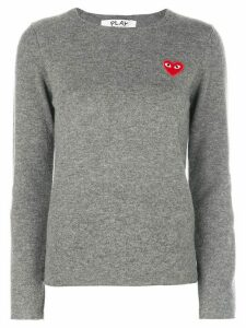 Comme Des Garçons Play almond-eye heart patch pullover - Grey