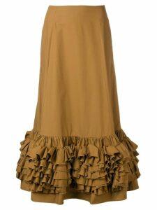 Molly Goddard brown frilled skirt