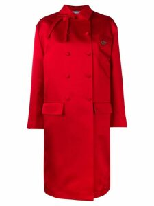 Prada double-breasted bow embellished silk coat - Red