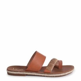 MEG - Tan Nappa Flat Sandal With Bamboo Inspired Detail