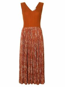 Nina Ricci pleated printed dress - Brown