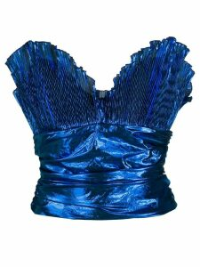 The Attico plissé bustier top - Blue