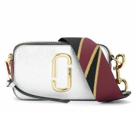 The Marc Jacobs Snapshot Small Camera Bag Shoulder Bag In Silver Saffiano Leather
