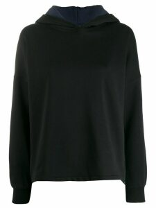 Closed colour-block hoodie - Black