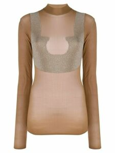 Courrèges sheer high neck T-shirt - Brown