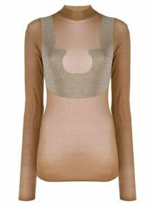 Courrèges sheer high neck T-shirt - Brown