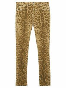 Burberry Straight Fit Leopard Print Japanese Denim Jeans - NEUTRALS