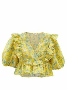 Rhode - Elodie Floral-print Ruffled Cotton Cropped Top - Womens - Yellow Print