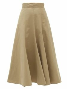 Three Graces London - Amelina High-rise Cotton-poplin Skirt - Womens - Khaki