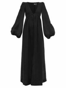 Lisa Marie Fernandez - Carolyn Balloon-sleeve Organic Linen-blend Dress - Womens - Black