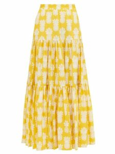 La DoubleJ - Pineapple-print Tiered Cotton Maxi Skirt - Womens - Yellow Print