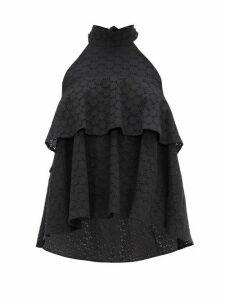 La DoubleJ - Bonbon Halterneck Broderie-anglaise Cotton Top - Womens - Black