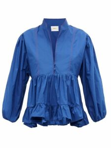 La DoubleJ - Quintana Ruched Cotton-poplin Blouse - Womens - Blue