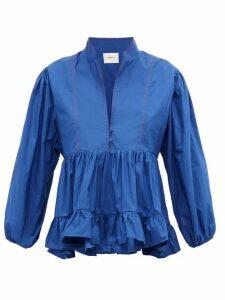 La DoubleJ - Quintana Ruched Cotton-poplin Blouse - Womens - Blue