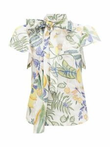La DoubleJ - Lou Lou Botanical-print Cotton-blend Blouse - Womens - White Print
