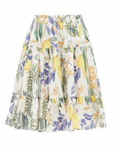 La DoubleJ - Love Botanical-print Banded Cotton Midi Skirt - Womens - White Print