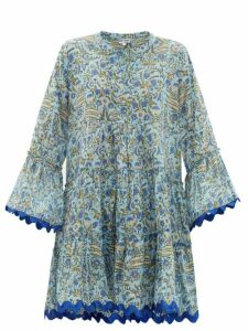 Juliet Dunn - Floral-print Cotton Mini Dress - Womens - Blue Print