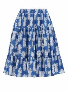 La DoubleJ - Love Pineapple-print Cotton-poplin Skirt - Womens - Blue Print