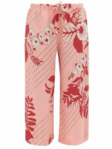 Etro - Floral-print Cropped Georgette Trousers - Womens - Pink Print