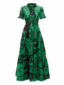 La DoubleJ - Long & Sassy Printed Cotton-poplin Dress - Womens - Green Print