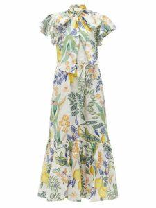 La DoubleJ - Lou Lou Floral-print Cotton-poplin Dress - Womens - White Print