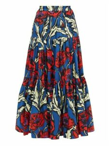 La DoubleJ - Big Blooms-print Tiered Cotton-poplin Maxi Skirt - Womens - Blue Print
