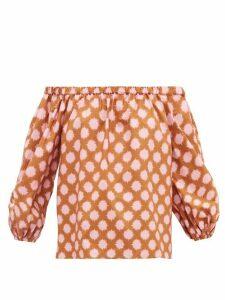 La DoubleJ - Paloma Off-the-shoulder Pom Pom-print Cotton Top - Womens - Pink Print