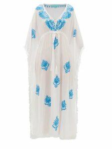 Melissa Odabash - Safiah Drawstring Embroidered Voile Kaftan Dress - Womens - White Multi