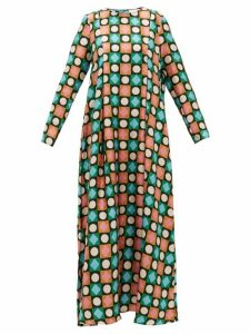 La DoubleJ - Trapezio Lucky Charms-print Silk Maxi Dress - Womens - Multi