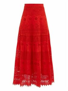Melissa Odabash - Alessia Tiered Broderie-anglaise Cotton Maxi Skirt - Womens - Red