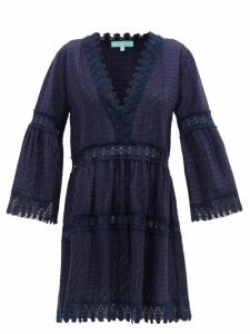 Melissa Odabash - Victoria V-neck Broderie-anglaise Cotton Dress - Womens - Navy