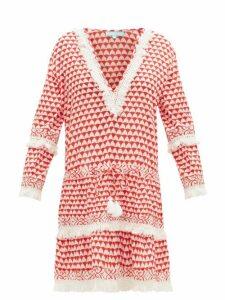 Melissa Odabash - Claudia Fringed Printed Dress - Womens - Red White