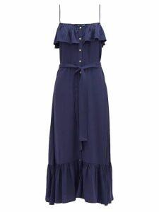 Melissa Odabash - Kyla Ruffled Midi Dress - Womens - Navy