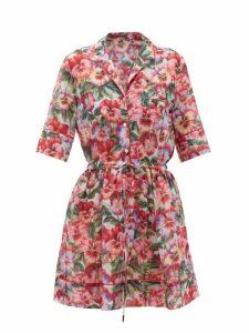 Dolce & Gabbana - Pansy-print Cotton-blend Cover-up Dress - Womens - Pink Print