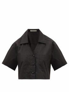 Three Graces London - Lily Cotton-poplin Cropped Shirt - Womens - Black