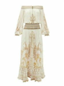 Camilla - The Queen Embroidered Silk Maxi Dress - Womens - White Gold