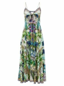 Camilla - Leopard And Floral-print Silk Maxi Dress - Womens - White Print