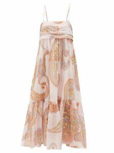 Loup Charmant - Iliana Paisley-print Pleated-bodice Cotton Dress - Womens - Pink Print