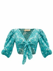 Adriana Degreas - Tie-front Floral-print Crepe De Chine Top - Womens - Blue Print
