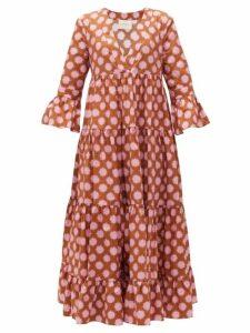 La DoubleJ - Jennifer Jane Pom Pom-print Tiered Cotton Dress - Womens - Pink Print