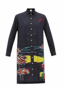 Kilometre Paris - Ibiza Embroidered Cotton Shirt Dress - Womens - Blue Multi