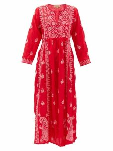 Muzungu Sisters - Floral-embroidered Silk Dress - Womens - Red Multi