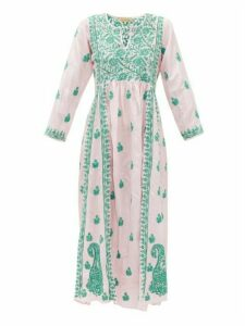 Muzungu Sisters - Floral-embroidered Silk Dress - Womens - Pink Multi