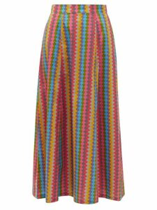 Le Sirenuse, Positano - Camille Waved-stripe Cotton-poplin Maxi Skirt - Womens - Pink Multi
