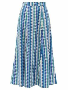Le Sirenuse, Positano - Camille Waved-stripe Cotton-poplin Maxi Skirt - Womens - Blue Print