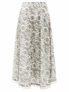 Le Sirenuse, Positano - Livia Valy Myers-print Cotton-voile Skirt - Womens - Black Print